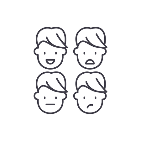 Emotional intelligence line icon concept. Emotional intelligence vector linear illustration, sign, symbol Illustration