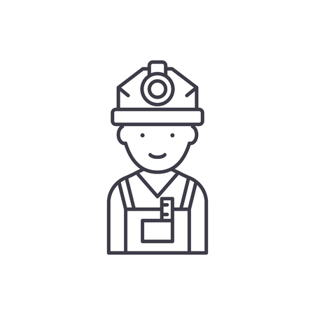 Engineer line icon concept. Engineer vector linear illustration, sign, symbol