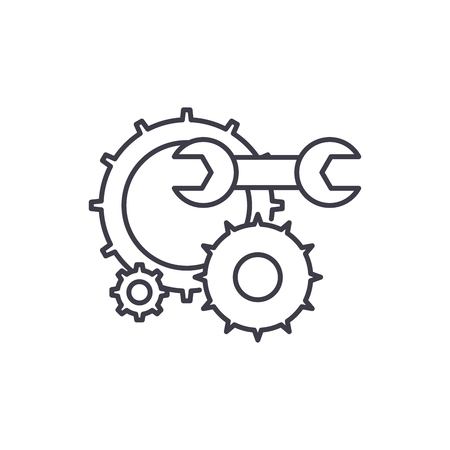 Engineering support line icon concept. Engineering support vector linear illustration, sign, symbol Illustration