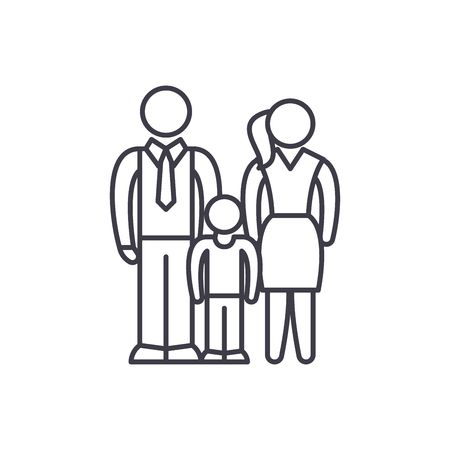 European family line icon concept. European family vector linear illustration, sign, symbol 向量圖像