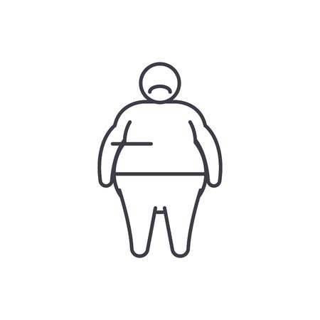 Fat person line icon concept. Fat person vector linear illustration, sign, symbol Illustration