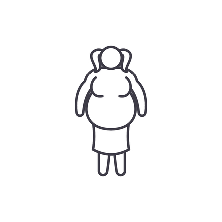 Fat woman line icon concept. Fat woman vector linear illustration, sign, symbol  イラスト・ベクター素材