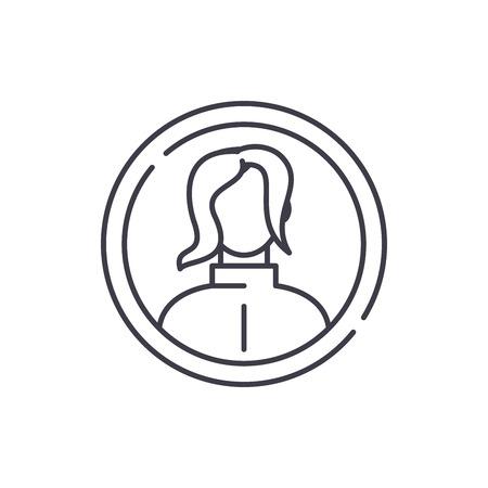 Female profile line icon concept. Female profile vector linear illustration, sign, symbol