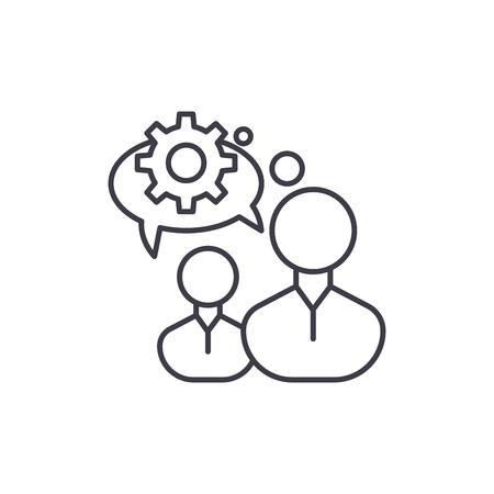 Engineering thinking line icon concept. Engineering thinking vector linear illustration, sign, symbol Illustration