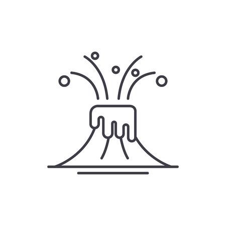 Eruption line icon concept. Eruption vector linear illustration, sign, symbol