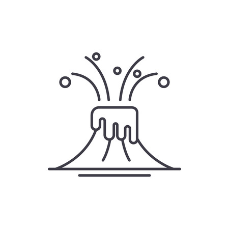 Eruption line icon concept. Eruption vector linear illustration, sign, symbol