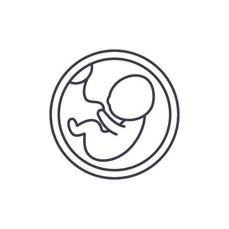 Fetus in the womb line icon concept. Fetus in the womb vector linear illustration, sign, symbol