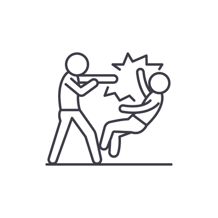 Fight line icon concept. Fight vector linear illustration, sign, symbol