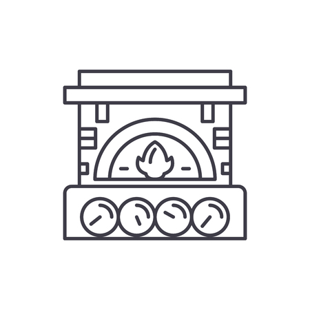Fireplace brick line icon concept. Fireplace brick vector linear illustration, sign, symbol