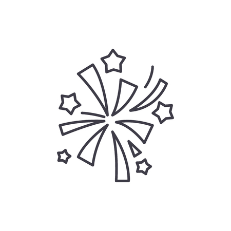 Fireworks line icon concept. Fireworks vector linear illustration, sign, symbol