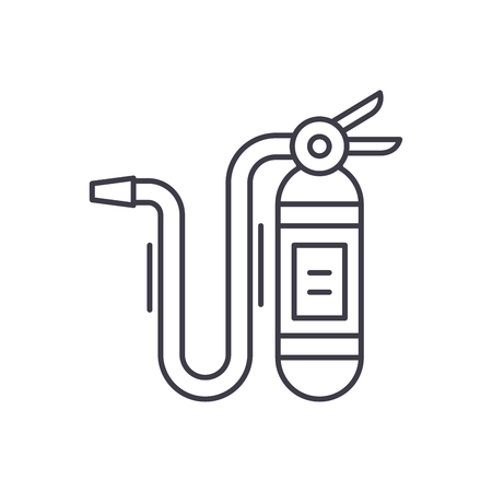 Fire extinguisher line icon concept. Fire extinguisher vector linear illustration, sign, symbol 스톡 콘텐츠 - 112693313
