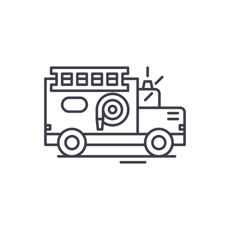 Fire engine line icon concept. Fire engine vector linear illustration, sign, symbol Banque d'images - 112693707