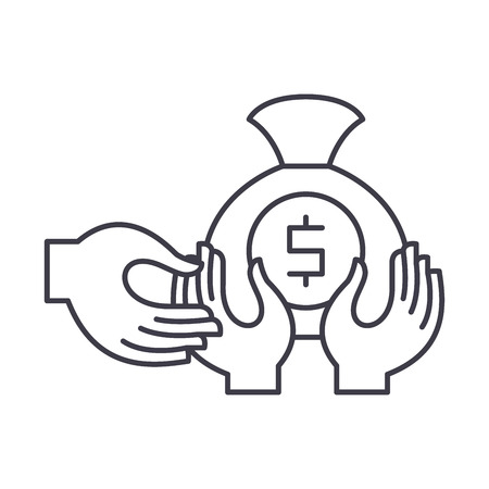 Financial fraud line icon concept. Financial fraud vector linear illustration, sign, symbol