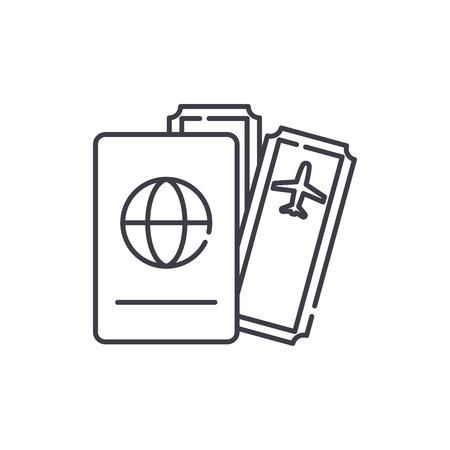 Flights line icon concept. Flights vector linear illustration, sign, symbol Ilustração