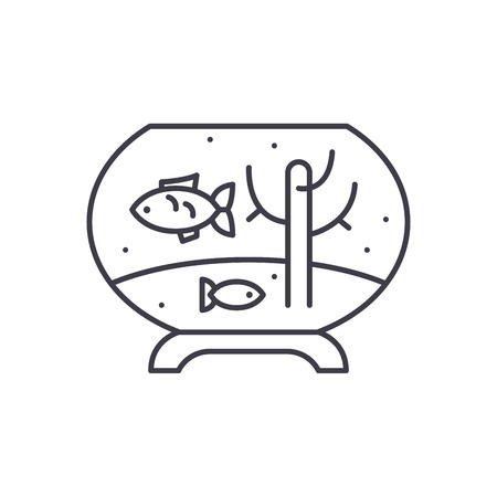 Fish in the aquarium line icon concept. Fish in the aquarium vector linear illustration, sign, symbol Stock Vector - 127493647