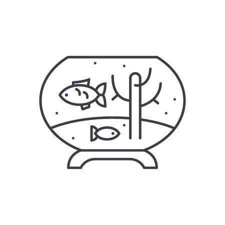 Fish in the aquarium line icon concept. Fish in the aquarium vector linear illustration, sign, symbol