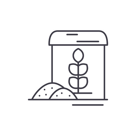 Flour line icon concept. Flour vector linear illustration, sign, symbol 写真素材 - 127493650