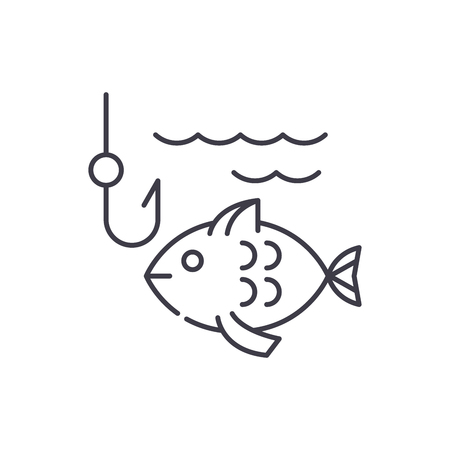 Fishing line icon concept. Fishing vector linear illustration, symbol, sign  イラスト・ベクター素材