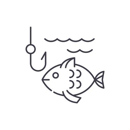 Fishing line icon concept. Fishing vector linear illustration, symbol, sign Illustration