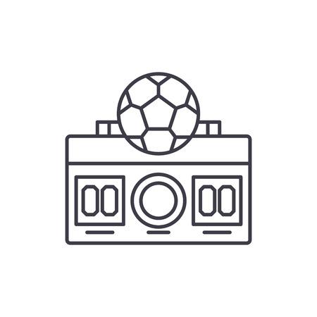 Football score line icon concept. Football score vector linear illustration, sign, symbol