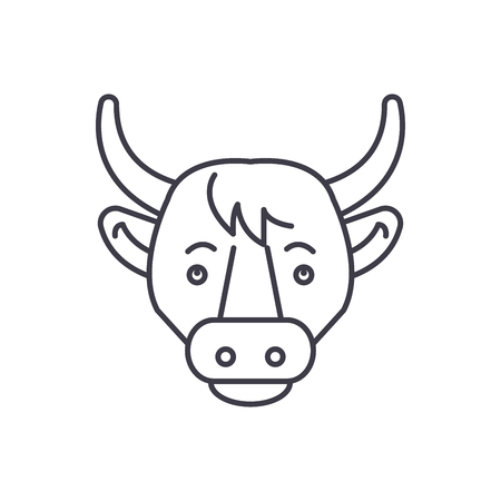 Funny cow line icon concept. Funny cow vector linear illustration, sign, symbol