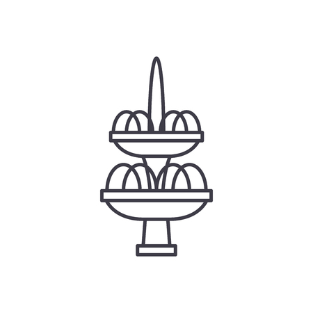 Fountain line icon concept. Fountain vector linear illustration, sign, symbol