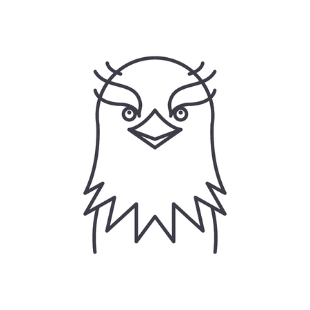 Funny eagle line icon concept. Funny eagle vector linear illustration, sign, symbol