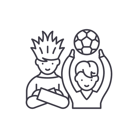 Football fans line icon concept. Football fans vector linear illustration, sign, symbol
