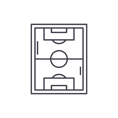 Football field line icon concept. Football field vector linear illustration, sign, symbol
