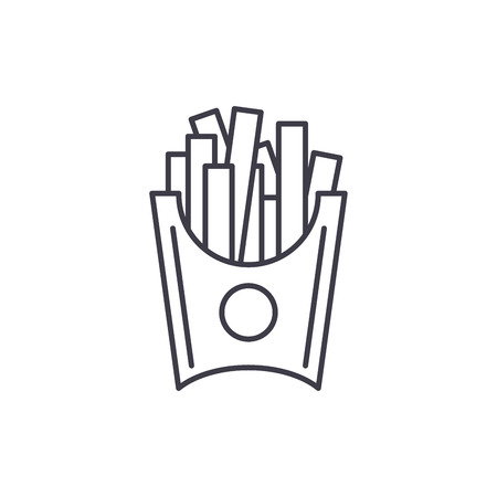 French fries line icon concept. French fries vector linear illustration, sign, symbol Stock Vector - 112695104