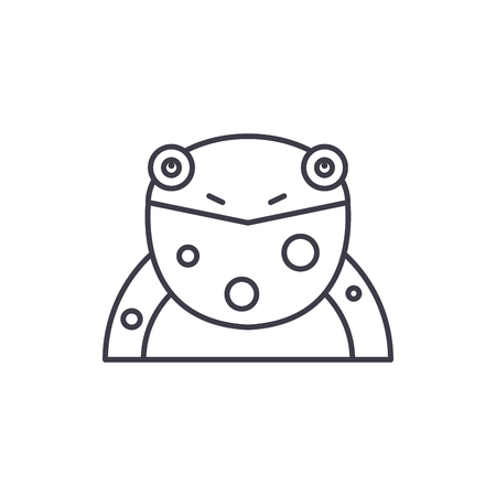 Funny frog line icon concept. Funny frog vector linear illustration, sign, symbol