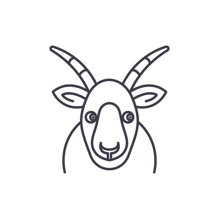 Funny goat line icon concept. Funny goat vector linear illustration, sign, symbol