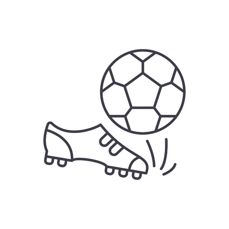Football line icon concept. Football vector linear illustration, sign, symbol