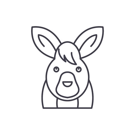 Funny hare line icon concept. Funny hare vector linear illustration, sign, symbol Illustration