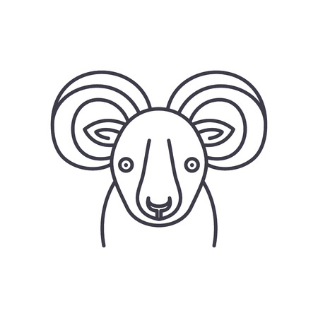 Funny ibex line icon concept. Funny ibex vector linear illustration, sign, symbol 写真素材 - 112839671