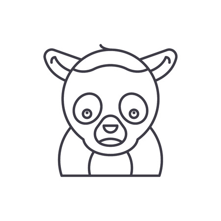 Funny lemur line icon concept. Funny lemur vector linear illustration, sign, symbol