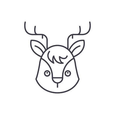 Funny moose line icon concept. Funny moose vector linear illustration, sign, symbol