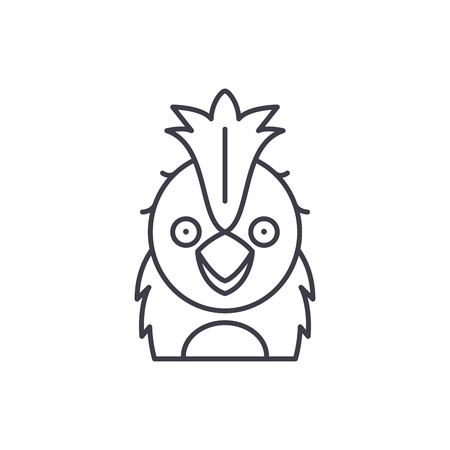 Funny parrot line icon concept. Funny parrot vector linear illustration, sign, symbol