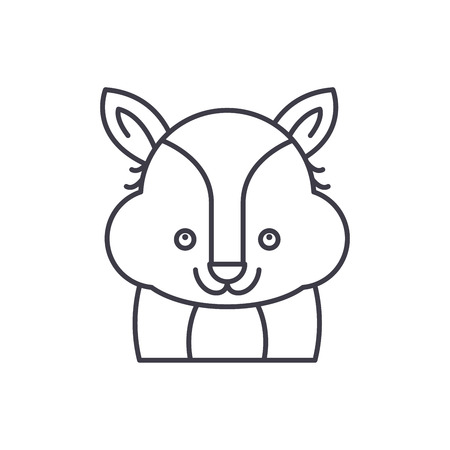 Funny raccoon line icon concept. Funny raccoon vector linear illustration, sign, symbol Illustration