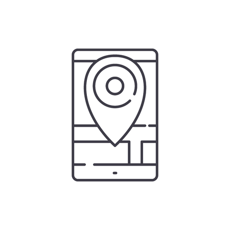 Geolocation line icon concept. Geolocation vector linear illustration, sign, symbol