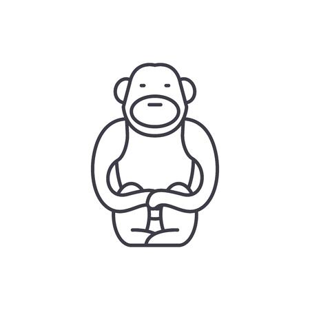 Gibbon line icon concept. Gibbon vector linear illustration, sign, symbol Banque d'images - 112417539