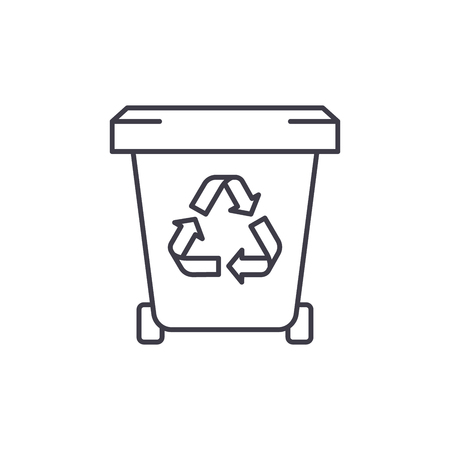Garbage storage line icon concept. Garbage storage vector linear illustration, sign, symbol
