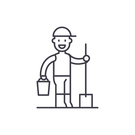 Gardener line icon concept. Gardener vector linear illustration, sign, symbol