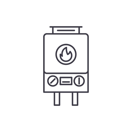 Gas heating line icon concept. Gas heating vector linear illustration, sign, symbol 写真素材 - 127493697