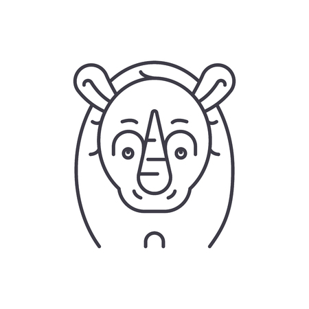 Funny rhino line icon concept. Funny rhino vector linear illustration, sign, symbol
