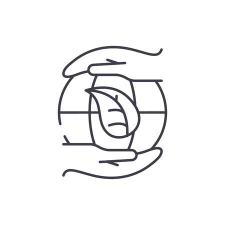 Global energy saving technologies line icon concept. Global energy saving technologies vector linear illustration, sign, symbol