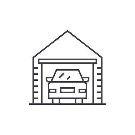 Garage line icon concept. Garage vector linear illustration, sign, symbol