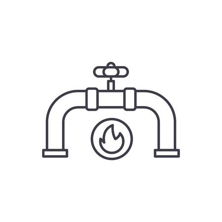 Gas pipeline line icon concept. Gas pipeline vector linear illustration, sign, symbol