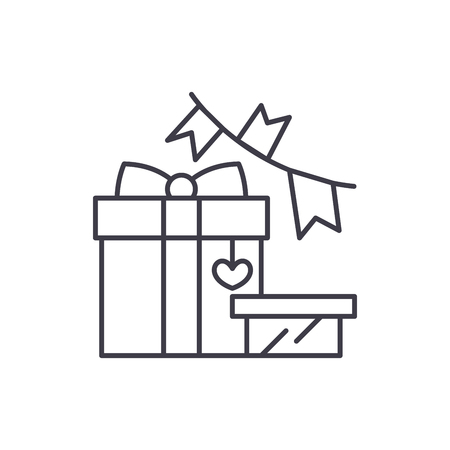Gift and decoration line icon concept. Gift and decoration vector linear illustration, sign, symbol