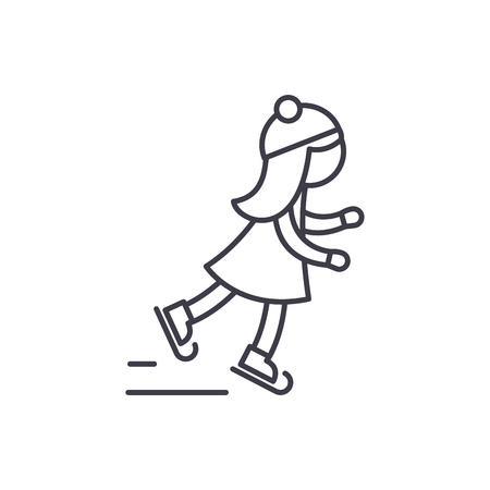Girl skating line icon concept. Girl skating vector linear illustration, sign, symbol